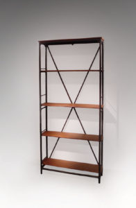 Bookcase, metal and mahogany, circa 1930-1940 | Etablissements Lerat