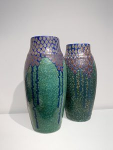 Two high vases, wisteria stylised pattern | Revernay Workshop