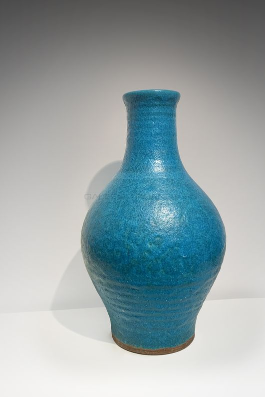 Arts Décoratifs XXe - Emile Lenoble-Grand vase balustre tuquoise2_ Galerie Arcanes l Arts Décoratifs XXe - Art Contemporain Paris