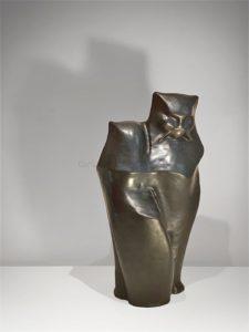 Couple de chats, sculpture en terre cuite | Frères Martel