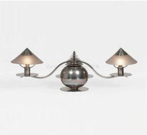 Lampe moderniste à deux bras de lumière, circa 1930 | Marc Erol et Charles Goetz