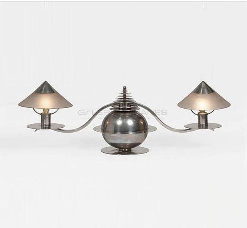 Arts Décoratifs XXe - Marc Erol - Lampe de table moderniste à deux bras2_ Galerie Arcanes l Arts Décoratifs XXe - Art Contemporain Paris