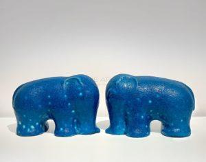 Two stylised  elephants, blue glaze | Raoul Lachenal