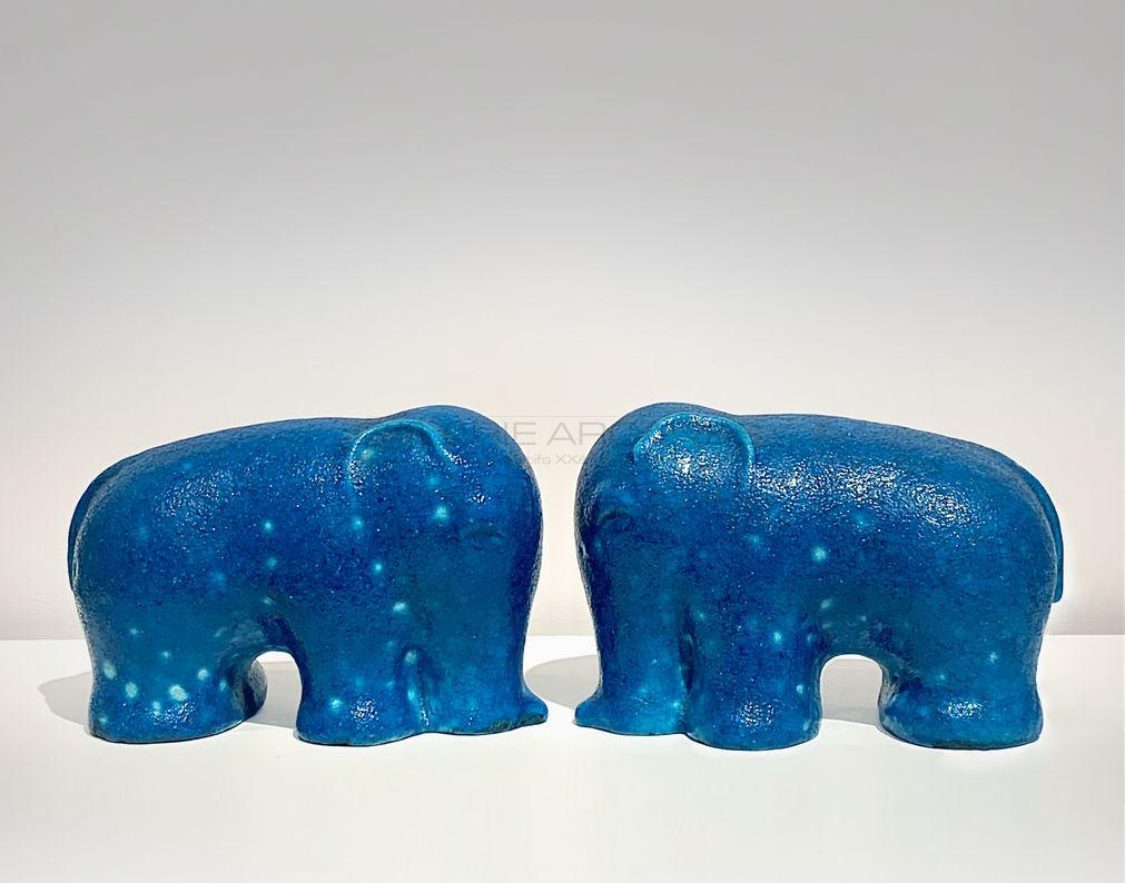 Arts Décoratifs XXe - Raoul Lachenal - Elephants stylisés bleus2_ Galerie Arcanes l Arts Décoratifs XXe - Art Contemporain Paris