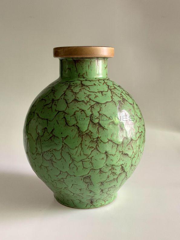 Lourioux Louis - Beau vase boule vert craquelé_ Galerie Arcanes l Arts Décoratifs XXe - Art Contemporain Paris
