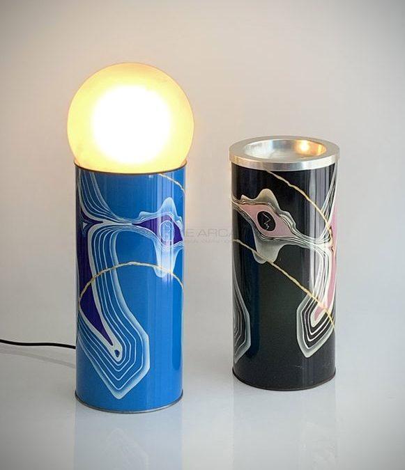 Tizio-Caio-Sempronio, lampe et vase sérigraphiés, circa 1967 | Archizoom