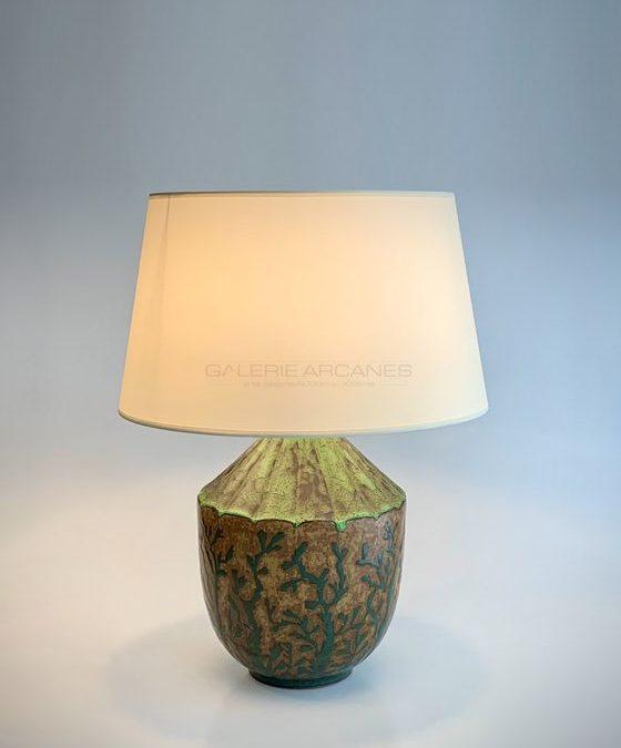 Lampe en grès à décor végétal, circa 1910 | Louis Lourioux