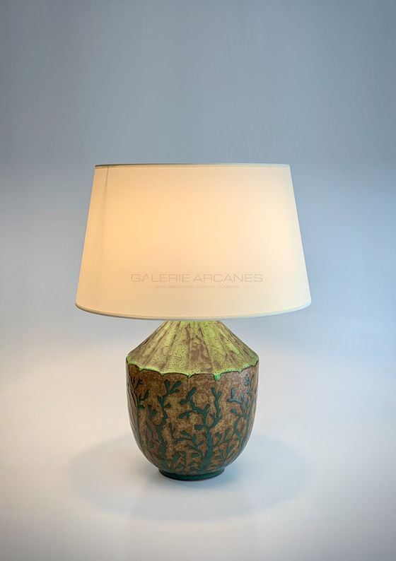 Louis Lourioux Lampe à décor végétal_ Galerie Arcanes l Arts Décoratifs XXe - Art Contemporain Paris