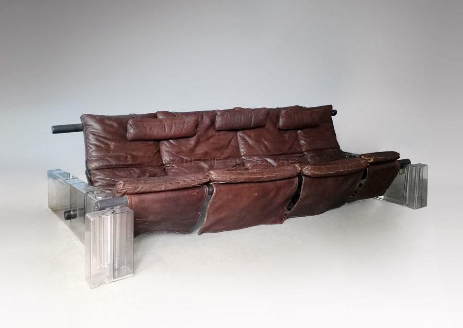 Canapé modulable «Positiv», cuir brun, circa 1970 | Vittorio Mazzucconi